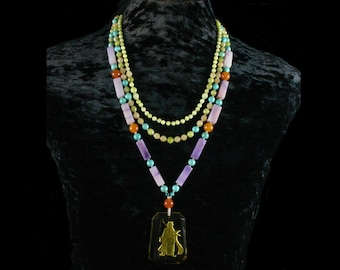 Yellow Jade Necklace, Purple Jade Necklace, Beaded Multi Strand Necklace, Lavender Jade Necklace, Ethnic Jewelry, Guan Yu Pendant