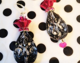 Hot Pink Gothic Rose Lucite Drop Earrings Celtic Knotwork