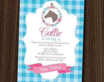 DIGITAL FILE Pony Princess Invitation Printable, Pony Party, Pony Birthday, 5x7 DIY Invitation by MayDetails