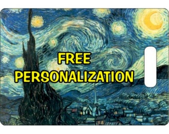 Starry Night Van Gogh Painting Personalized Rectangle Luggage Tote Bag Tag