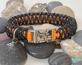 Reflective Black & Orange Engraved Paracord Dog Collar - Free Engraving