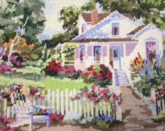 Vintage Framed Needlepoint Picture English Garden Country Shabby Chic Flowers Floral Scene 14.25x18.25 - Very Colorful!