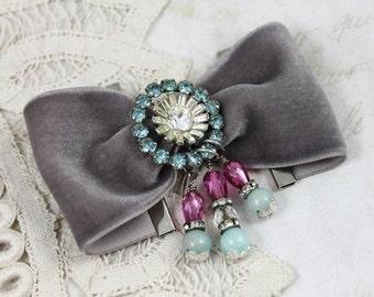 Vintage Jeweled Grey Velvet Cuff Bracelet, Aqua and Magenta Beaded Velvet Cuff, Victorian Assemblage Velvet cuff, Boho Fabric Cuff