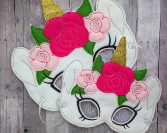Floral Unicorn Felt Mask in 2 Sizes, Elastic Back, Gold Sparkle Horn, Embroidery and Flower Applique on White Felt, Halloween Costume
