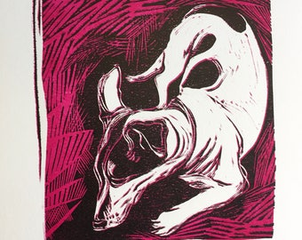 A Little Nap  - linocut print of a Jack Russell (black & pink)