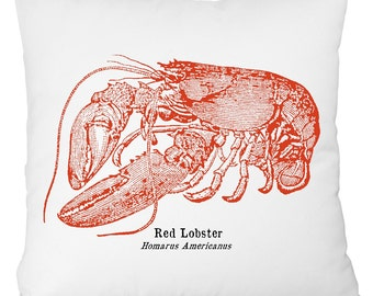 red lobster pillow, red lobster throw pillow, nautical throwpillow, nautical throw pillow, nautical red lobster pillow