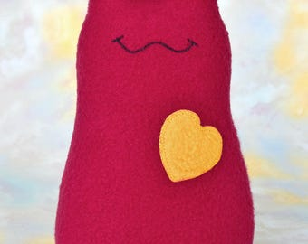 Handmade Slug Stuffed Animal, Crimson Red, Gold Fleece, Personalized Tag, Plush Kids Baby Toddler Art Toy Doll, Hug Me Slug,  9 inch