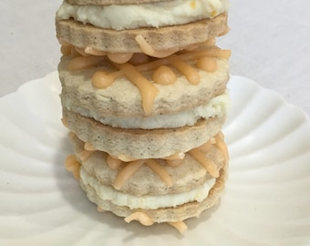 GLUTEN FREE -  Shortbread Sandwich Cookies with Orange Butter Cream and Orange Drizzle  (ONE Dozen)