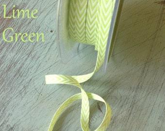Green Chevron Twill Herringbone Ribbon - 1/4 Inch Width ,Packaging and Gift Ribbon