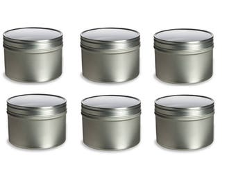 4 oz Clear Top Round Tins- Set of 6