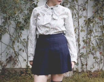 vintage printed blouse with neck tie