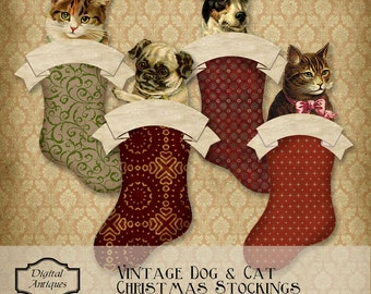 Vintage Christmas Dog and Cat Stocking Tags  Printable Digital Download