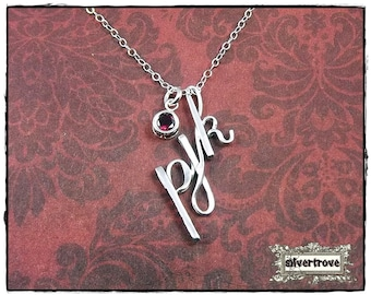 Intial Pendant Personalized Sterling Silver Calligraphy Script 3 Initial Charm Necklace Optional Birthstone Charm and Chain by SilverTrove