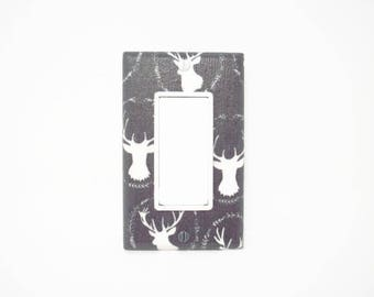 Deer Rocker Switch Cover - Woodland Light Switch Cover - Woodland Nursery - Grey White Deer Decor - Deer Light Switch Plate - Boys Decor