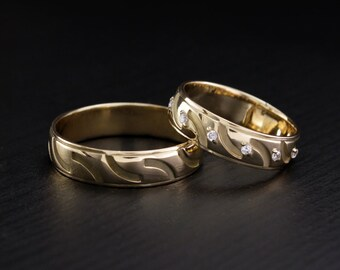 Heartbeat wedding bands His and hers band Couple promise