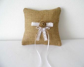 Romantic burlap and lace ring bearer pillow for rustic weddings