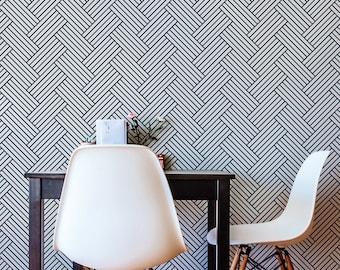 Herringbone Wallpaper/ Removable Self-adhesive Wallpaper / Geometric wallpaper mural  Pattern Wall Covering - 175
