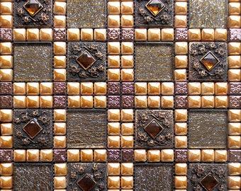 Crackle Glass Mosaic Patterns Porcelain Accent Tiles Rose Gold Stainless Steel Backsplash Diamond Tiles