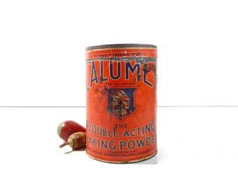 Vintage Calumet Baking Powder Tin / Large Advertising Tin / Rustic Decor