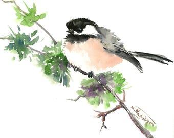 watercolor art,Chickadee, one of a kind watercolor painting, bird art, nursery art, children room, chickadee illustration wall art songbird