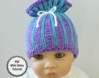 Loom Knit Baby Hat PATTERN with Video Tutorial Brioche Stitch Paper bag Sack Beanie