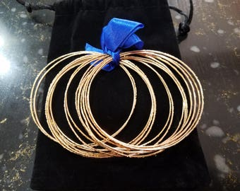 22 K textured gold bangle bracelets
