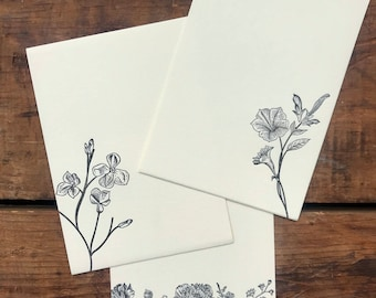 Floral Letterpress Printed Stationery, Assorted set of 12