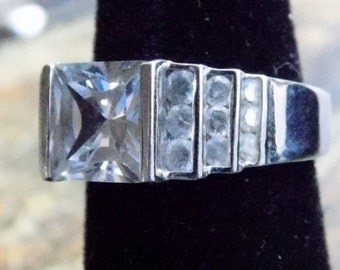 Sterling Silver - 925 - Ring with Center Stone - Size 6 Approximately - Cubic Zirconia, CZ, Stones and Princess Cut