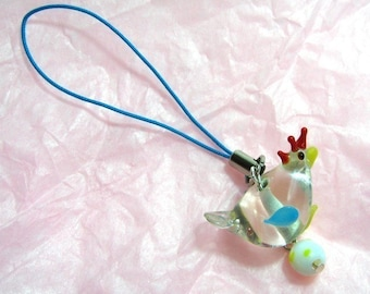 Sweet Glass Chicken Cellphone charm - glass lampwork chicken bead on turquoise lanyard -Free Shipping USA
