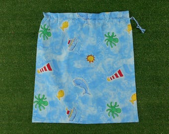Kids large drawstring bag for library or toys, seaside  ocean theme cotton bag
