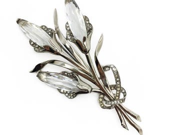 JENNIFER GIBSON JEWELLERY Vintage Mazer 1940s Crystal Floral Calla Lily Statement Brooch