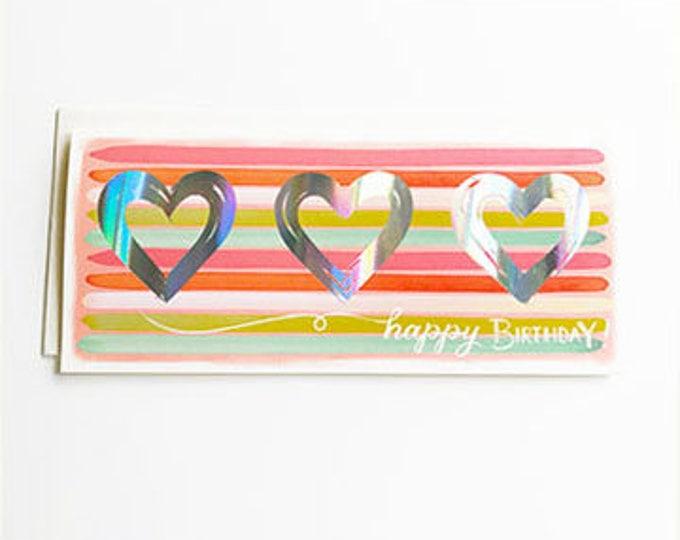 Happy Birthday holographic Hearts