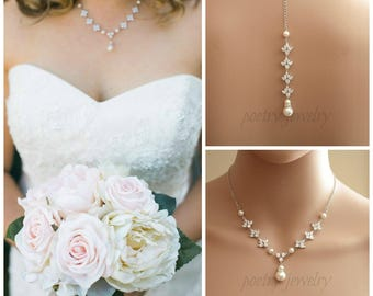 Backdrop Wedding Necklace Crystal Back Drop Necklace Pearl Bridal Necklace Back Necklace Bridal Back Jewelry, Rosa