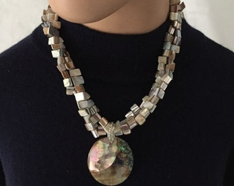 Estate Mother of Pearls With Large Pendant Statement Necklace,Excellent!