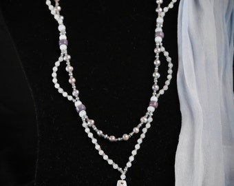 Victorian style double strand, pearl, quartz with blue chalcedony drop pendant necklace