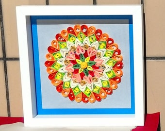 Quilling Mandala Art Frame - Paper quilled wall art