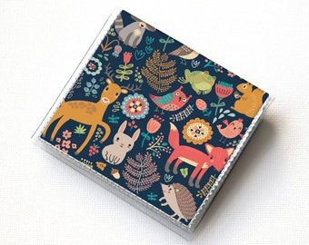 Vinyl Moo Square Card Holder - Fall Forest1 / case, vinyl, snap, wallet, mini card case, square, woodland animals, vegan, fox, deer, rabbit