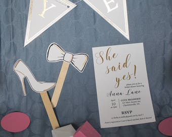 She said yes bridal shower kit | invitations, decor, games and favors