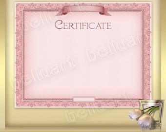 Printable Certificate Template No.5 - Photoshop Template - blank certificate - 11 x 8.5 - pink certificate - Instant Download