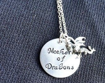 Mother of Dragons Hand Stamped Necklace