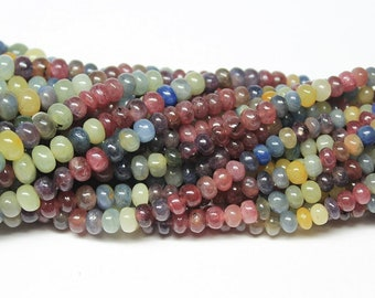 Multi Pink Blue Sapphire Smooth Rondelle Loose Gemstone Beads Strand 4mm 7mm 14""