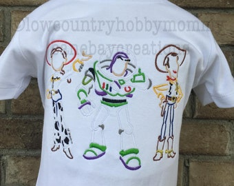 Personalized Sketch Cowgirl Astronaut Cowboy Toy Trio Shirt