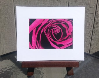 Original Rose Scratchboard Painting