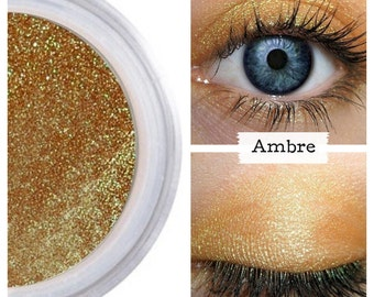 Amber Duochrome Eyeshadow, Gold Brown Duochrome, Mineral Makeup, AMBRE Eyeshadow, Amber Eyes, Vegan Amber, Cruelty Free Eye, Eye Makeup