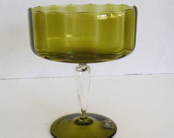 Vintage Large Mid Century Green Imported Crystal Vase by BLEFELD