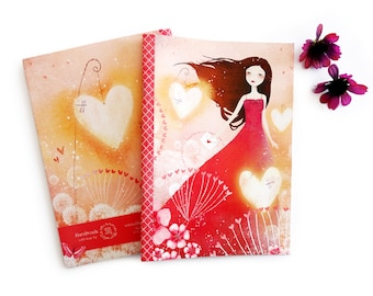 Heart Lanterns - A5 Handmade Notebook