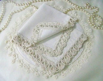 Lace Handkerchief, Hanky, Hankie, Hand crochet, Lacy, Ecru, Personalized, Custom, Embroidered,Monogrammed, Ladies, Ready to ship