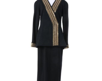 Lillie Rubin Black Knit Evening Skirt Suit with Gold Tone Studded Jacket Size 6