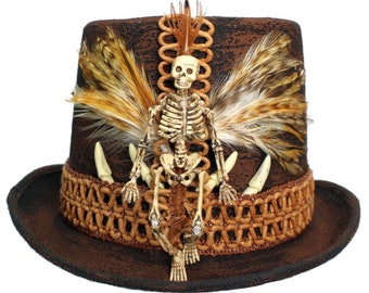 Brown Wool Top Hat Voodoo Skull Gothic Steampunk Gypsy Gentlemens Mens Dapper Cosplay