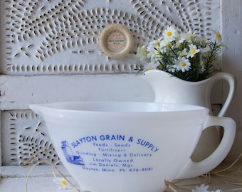 Vintage Grain Advertising Milk Glass Batter Bowl - Slayton Grain and Supply - Slayton Minnesota - Federal Glass